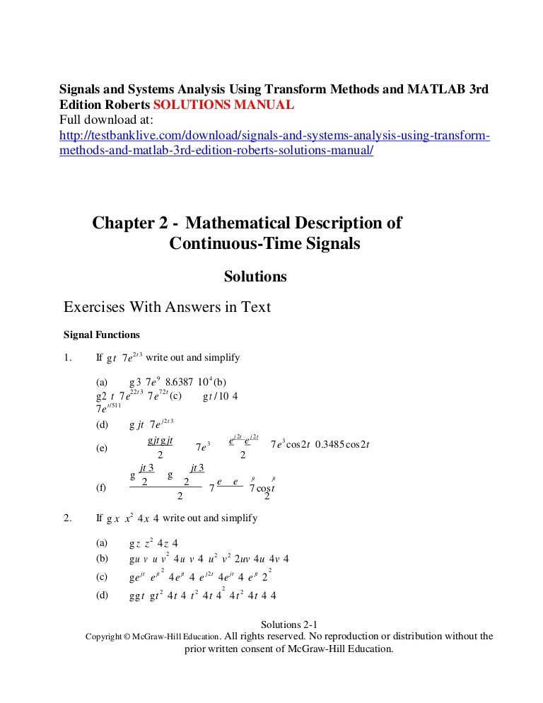 signals and systems using matlab solution manual